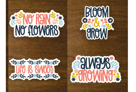 floral quote stickers