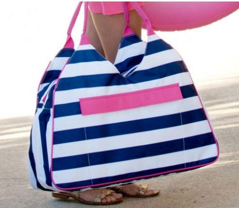 Beach Bag Tote Monogram Navy Stripe Lake