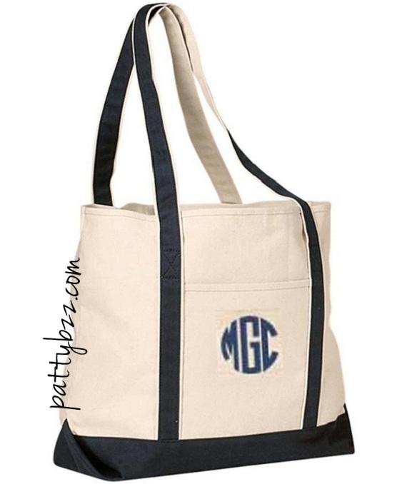 Monogram Custom Tote Book Bag Bridesmaid Gift