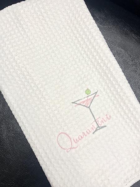 embroidered qurantini tea towel