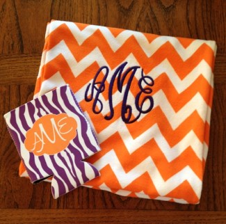 Chevron Infinity Scarf-orange or pink, embroidered with monogram in choice of thread color