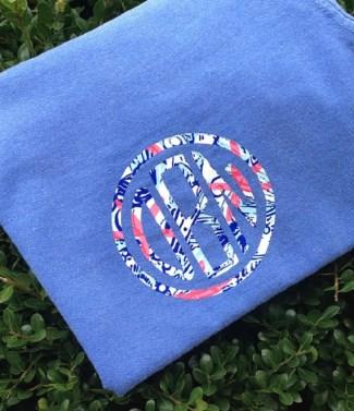 Monogram Lilly Pulitzer Inspired SS Tee Shirt-t shirt monogrammed pocket tee custom personalized circle script circle block tshirt tee gift bridesmaid bride sorority greek Custom Colors customized