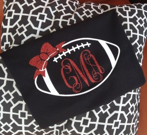 Monogram SS Football T Shirt - Game Day Shirt-Monogram football tshirt game day shirt football tee shirt glitter monogram finished with bow short sleeve tshirt preppy t shirt tailgate party school color t shirt glitter bow glitter monogram football