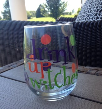 Halloween Stemless Wine Glass - Drink Up Witches-halloween stemless wine glass drink up witches halloween wine glass halloween gift custom wine glass stemless wine glass