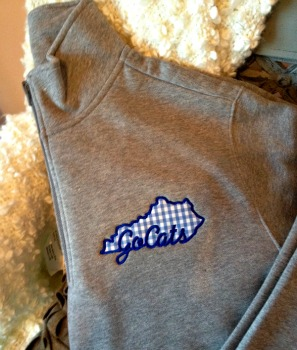 Quarter Zip Sweatshirt-with Go Cats appliqued around the state of KY outline in choice of gingham