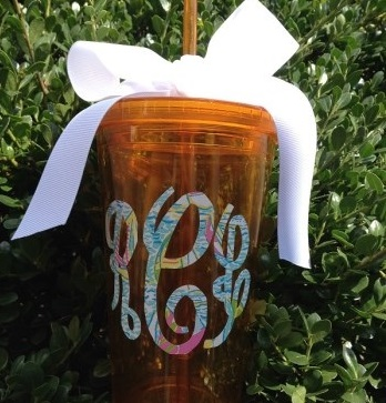 Lilly Pulitzer Inspired - 16 oz. Acrylic Tumbler with Lid-acrylic tumbler acrylic vinyl 16 oz. gift bridesmaid summer pool spring personalized custom customized insulated fleur de lis sports tumblers teacher gift birthday Lilly inspired monogram Lilly inspired Lilly Pulitzer customized tumbler Lilly Pulitzer tumbler Lilly Pulitzer acrylic tumbler