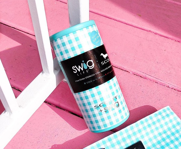 Gingham Skinny Can Cooler-Swig 12 ounce holder in aqua white gingham check design