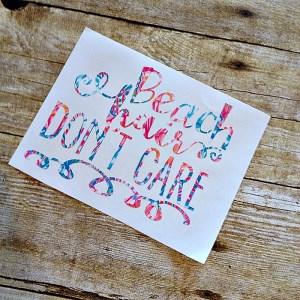 Beach Hair Don't Care - Inspired by Lilly Decal - Many Sizes Available-Beach Hair Dont care Lilly decal customized Lilly decal game day car window decal monogrammed custom game day secret santa hostess gift bridesmaid Lilly inspired design camelbak cell phone monogram decal lilly lilly pulitzer inspired decal