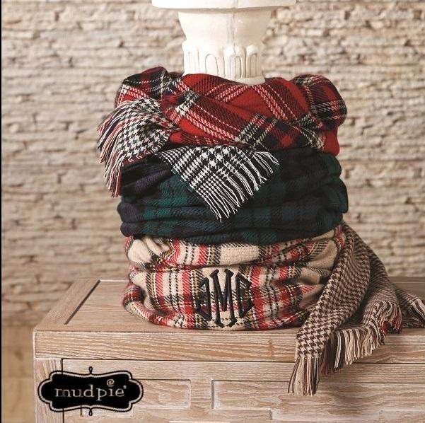 Monogram Blanket Scarf - Mudpie Scarf - Plaid Scarf --monogram blanket scarf, mudpie blanket scarf, plaid scarf, blanket scarf, scarf, custom, monogram, monogram scarf, personalized scarf, custom scarf