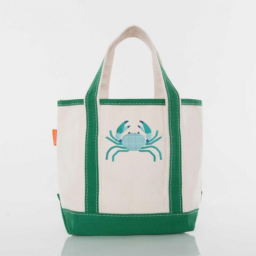 Canvas Open Top Tote-with emerald green straps and bottom embroidered with a crab in multiple thread colors