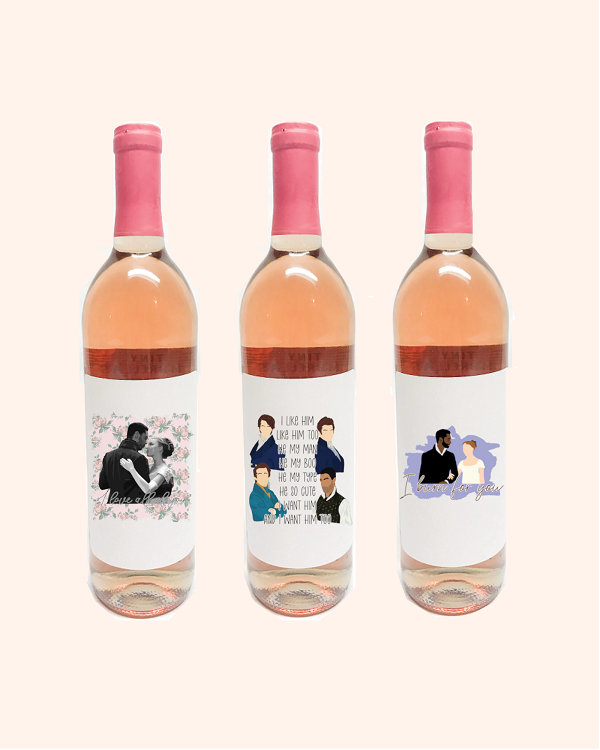 Bridgerton Wine Bottle Label-3.75 x 4.75 white label with Daphne and Simon with words I love all of you, Daphne and Simon I burn for you and 4 men from Bridgerton