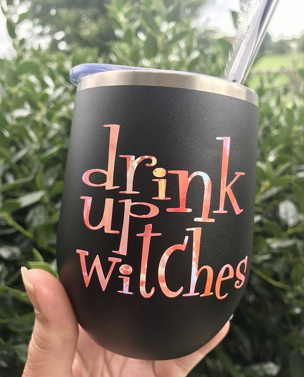 Wine Cup - Drink Up Witches - Halloween Wine Glass-wine cup, drink up witches, halloween wine glass, shimmer wine tumbler, opal vinyl, halloween gift, hostess, custom tumbler, unique cup, best present to give, personalized gift, housewarming, vino, barware