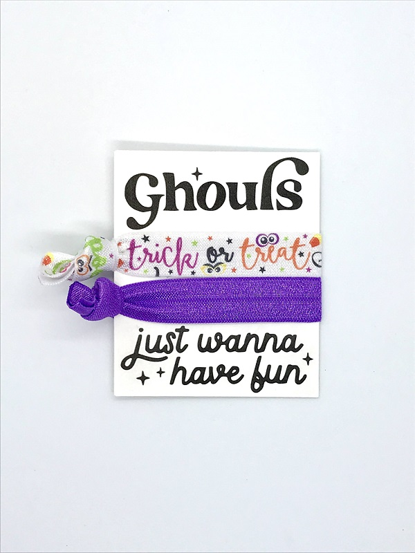 Halloween Hair Ties-with day of the dead skull design in bright colors along with solid purple tie on quality cardstock designed with Hey Boo and scary hair dont care written on it