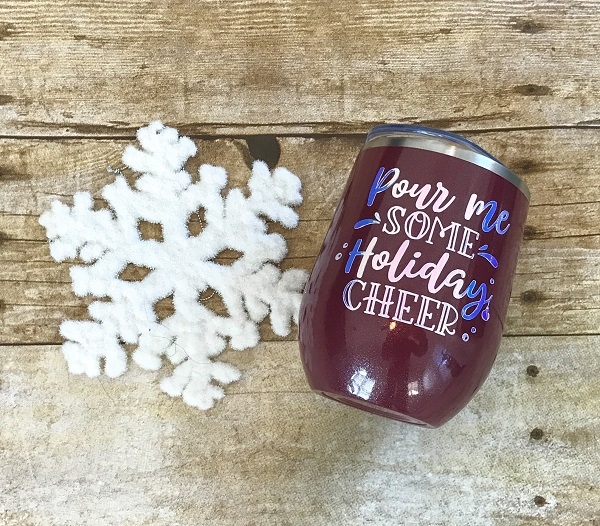 Pour Me Some Holiday Cheer Cup-12 ounce tumbler in maroon with shimmer white letters