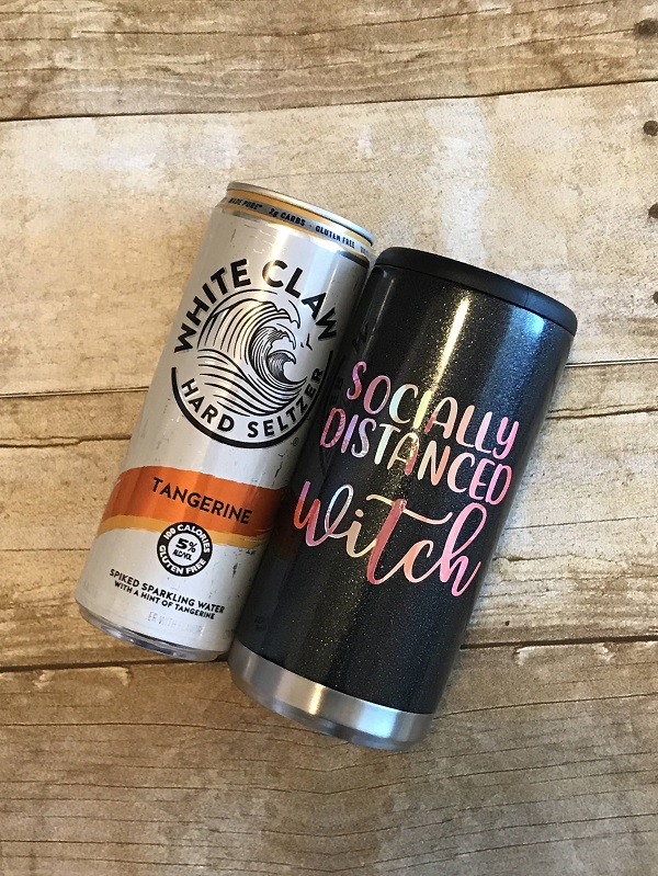 Skinny Can Holder - Socially Distanced Witch - Drink Up Witches - Halloween-wine cup, drink up witches, halloween wine glass, shimmer wine tumbler, opal vinyl, halloween gift, hostess, custom tumbler, unique cup, best present to give, personalized gift, housewarming, vino, barware, socially distanced witch, halloween, party cup, skinny can holder, halloween skinny can, 12 oz skinny cans