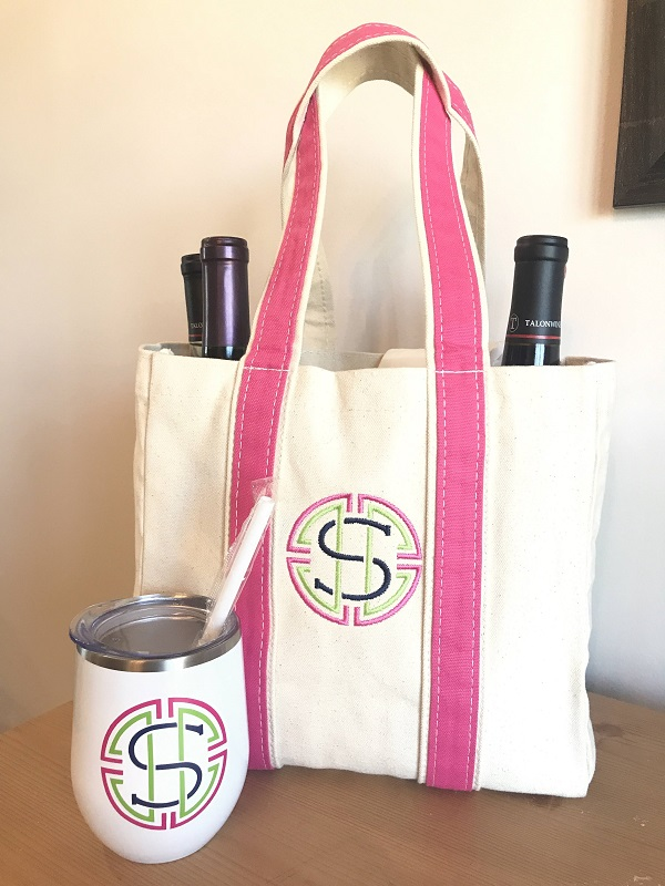 Embroidered Canvas Wine Tote-with straps in pink, embroidered with a S initial and matching insulated wine tumbler