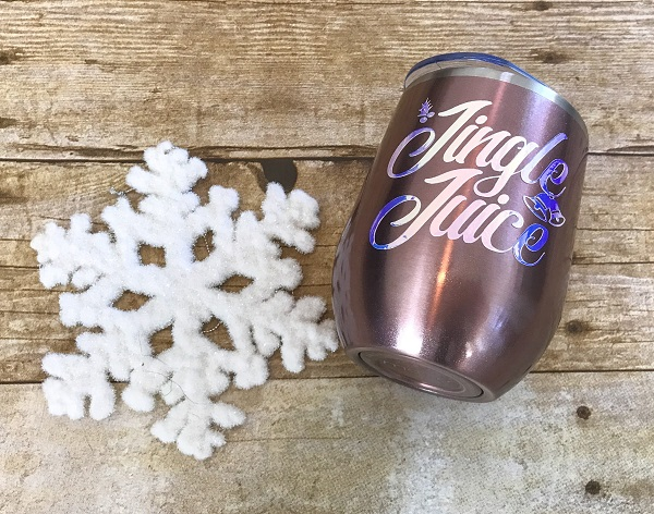 Jingle Juice Wine Cup-12 ounce rose gold tumbler with white letters