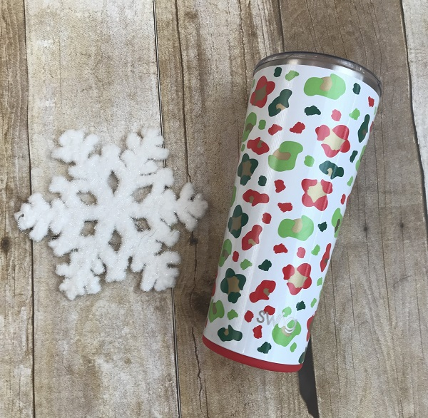 Insulated Tumbler, Jingle Jungle-22 ounce with red, green, gold leopard spots on white glitter background