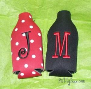 Zipper Koozie - Embroidered with Initial-koozie, coolie, coozie, zipper koozie, custom, monogrammed, personalized, beer bottle, Christmas, gift, teacher gift, bride, bridesmaid, monogrammed koozie, monogrammed koolie