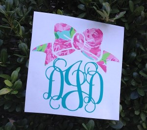 Custom Stickers - Monogram Decal - Monogram Tumbler - Car Monogram - Monogram Sticker-custom stickers, monogram decal, monogram tumbler, car monogram, monogram sticker, monogrammed Lilly decal, customized Lilly decal, car window decal, secret santa, hostess gift, bridesmaid, Lilly inspired design, cell phone monogram decal, lilly inspired decal monogram with bow, lilly inspired decal