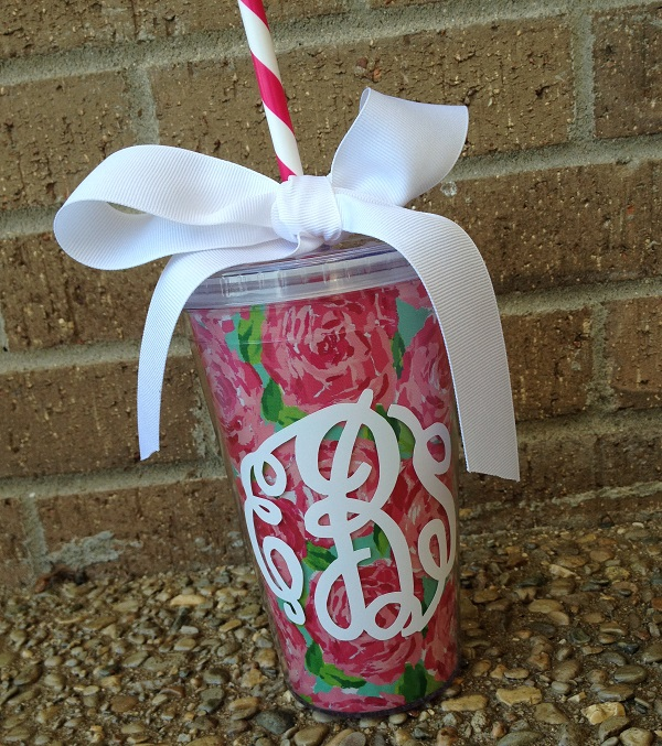 Lilly inspired Acrylic Tumbler with Waterproof Fabric Insert - 16 oz - Monogram or Name-Lilly inspired Acrylic tumbler, Lilly, fabric insert, 16 oz acrylic tumbler, Lilly tumbler with fabric insert, monogram, name, design, monogrammed, personalized, teacher gift, bridesmaids, pool parties, personalized tumbler, monogrammed tumbler