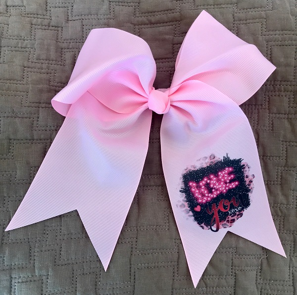 Monogram - Hair Bow - Boutique Bow- Love You-valentines day, valentines day bow, accessories, hair accessories, barrettes and clips, valentines hair bow, girls valentines bow, monogram hair bow, monogram valentine, custom hair bows, boutique hair bows, personalized bows, monogram bows, love you, boutique bow