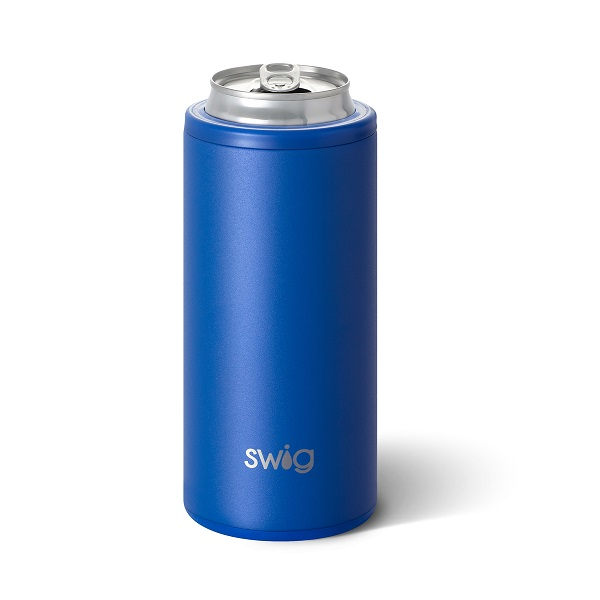 Matte Royal Skinny Can Cooler - Swig Life - Personalized - Holds 12 oz Slim Can Beverage-Island Bloom, Swig Life, Swig, triple insulated technology, vacuum-sealed, copper-coated insulation, wine, wine cup, Island Bloom wine cup, Swig Life stemless wine cup, party animal, party animal stemless wine cup, party animal wine cup, party animal stemless wine, barnaby checkham skinny can cooler, barnaby checkham, Swig Life +Scout, slim can beverage, slim can, 12 oz slim can beverage, matte royal, royal blue skinny can cooler, royal slim can beverage holder