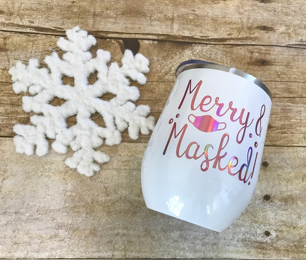 Merry and Masked Insulated Cup-12 ounce glitter white tumbler with rose gold letters and tiny mask