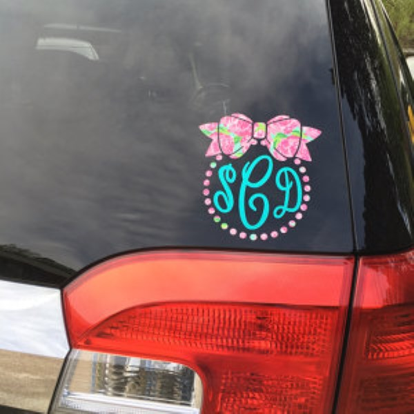 Monogram Sticker - Custom Stickers - Monogram Decal - Car Monogram-monogram sticker, custom stickers, monogram decal, monogram tumbler, car monogram, monogrammed Lilly decal, customized Lilly decal, car window decal, secret santa, hostess gift, bridesmaid, Lilly inspired design, cell phone monogram decal, bow and pearls design
