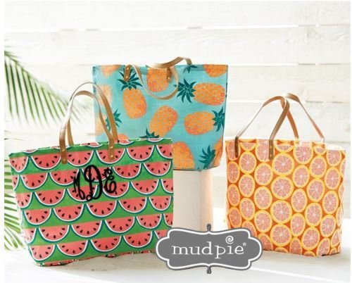 Monogram Tote - Book Bag - Monogram Purse - Beach Bag - Mud Pie-Bags, Purses, Totes, monogram tote, Bridesmaid gift, monogram purse, book bag, Mud Pie Jute Tote, Natural tote, mudpie beach bag, Fruit jute tote, monogram fruit tote, monogram beach bag, graduation gift, mud pie