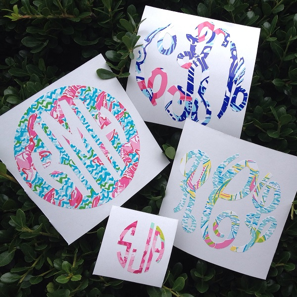 Monogram Decal - Monogram Sticker - Custom Stickers - Car Monogram-monogram decal, monogram sticker, custom stickers, monogram tumbler, car monogram, monogrammed Lilly inspired decal, customized Lilly decal, secret santa, hostess gift, bridesmaid, Lilly inspired design, camelbak, cell phone monogram decal.  Lilly decal monogram, lilly pulitzer decal