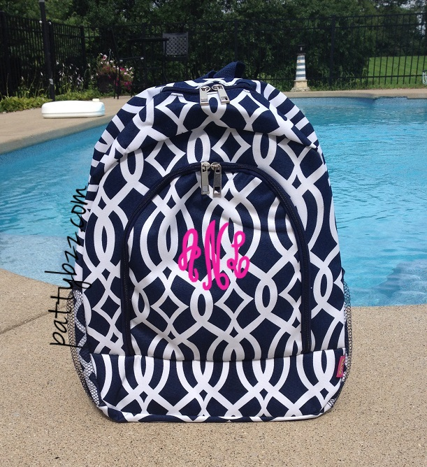 Monogram Vine Backpack | Personalized Girl Backpack | Vine Design | Back to School-monogram vine backpack, vine backpack, navy trellis backpack, monogram navy vine backpack, back to school, girl backpack, girls retro backpack, girls monogram backpack, personalized school backpack, custom backpack, personalized backpack, discount backpack, personalized girl backpack, vine design