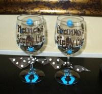 Baby Footprints - Custom Grandma-Grammy-Nana Sippy Cup Wine Glass-custom personalized sippy cup wine vinyl polka dot grandma Christmas mothers day