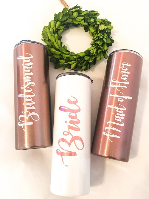 Wedding Party Gifts-20 ounce insulated tumbler in rose gold and white personalized for your whole wedding party