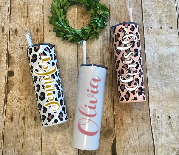 Skinny Tumbler, Leopard Spot-20 ounce tumbler in glitter white, leopard spots, with names Olivia, Jennifer, Christy personalized on it