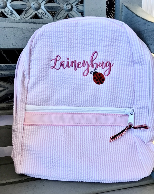 Small Monogram Backpack-pink Seersucker embroidered with name and ladybug