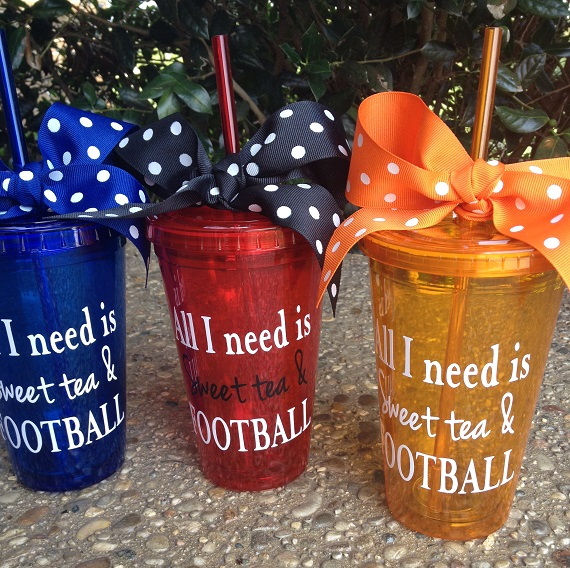Sweet Tea & Football - 16 oz Acrylic Tumbler with Lid-game day, football, football and sweet tea, southern state, southern football, custom, customized, tailgate, acrylic tumbler, team color, team support, personalized, sweet tea and football