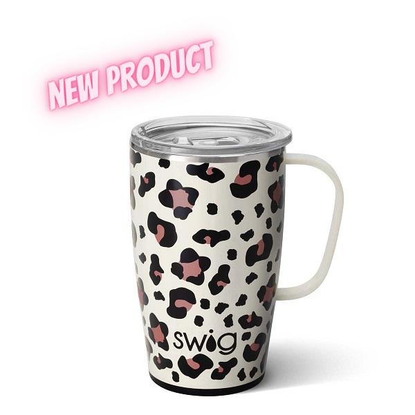 Swig Leopard Travel Mug-18 ounce insulated handled tumbler with leopard spots decorating the background
