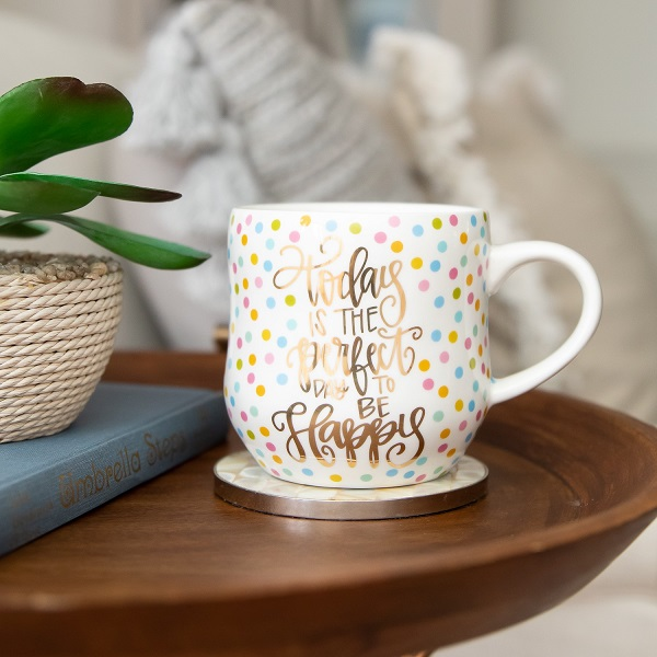 Inspirational Coffee Cup - Today is the Perfect Day to be Happy - 19 oz Mug-inspirational coffee cup, coffee cup, be still and know, floral 19 oz mug, floral mug, coffee mug, inspirational coffee mug, floral cup, mothers day, drinkware, mugs, teacup, tea cup, tea mug, house warming gift, teacher gift, teacher mug, teacher coffee mug, teacher coffee cup, You had me at the correct use of youre, grammar lover, grammar police, today is the perfect day to be happy, confetti coffee cup, confetti coffee mug, confetti cup