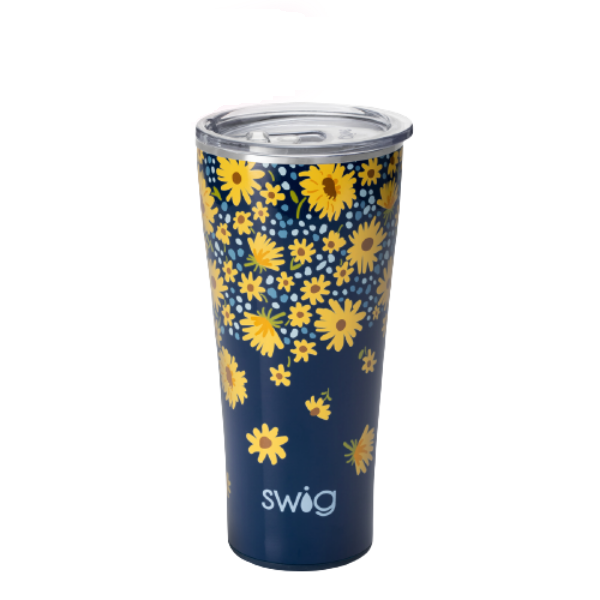 Crazy Daisy Insulated Tumbler-by Swig in an adorable daisy design on a navy blue background
