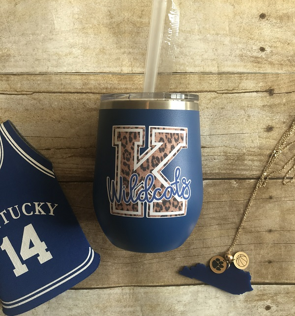 Leopard Spot Tumbler-12 ounce size UL cardinals on black cup, K wildcats on royal blue cup