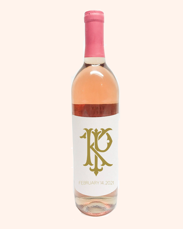 Monogram Wine Bottle Label-3.75 x 4.75 white label with initial of bride and groom in an intertwining font in gold.
