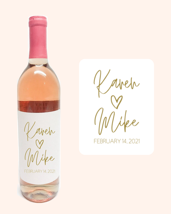 Personalized Wine Bottle Label-3.75 x 4.75 white label with names of bride and groom with date of ceremony in gold ink.