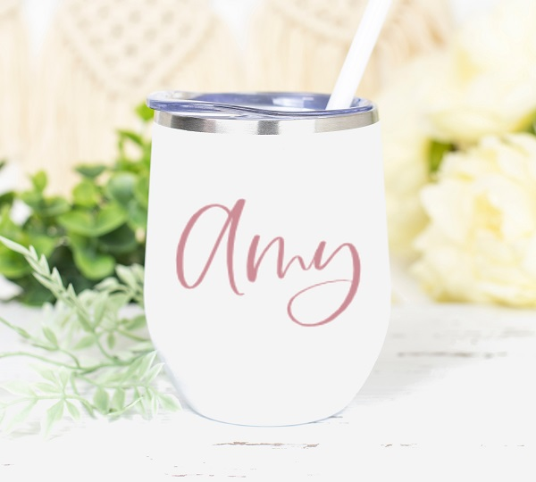 Personalized Wine Tumbler-in white, personalized with your bridesmaid, maid of honors name in rose gold vinyl.