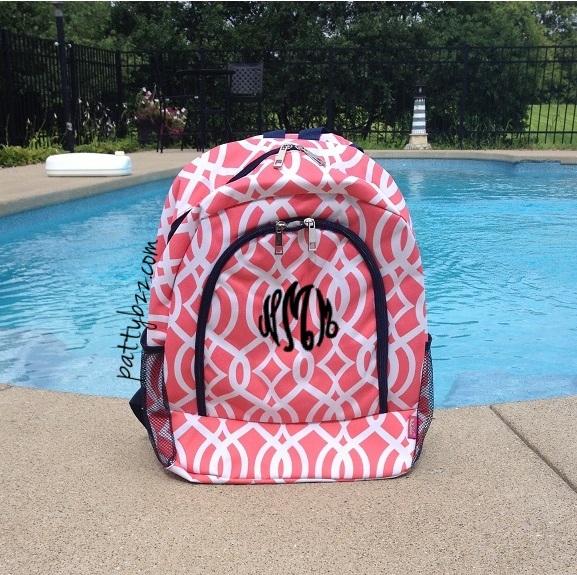 Monogram Vine Backpack | Girl Backpack | Vine Design | Back to School-monogram backpack, vine design backpack, trellis backpack, monogram navy vine backpack, back to school, girls backpack, girls retro backpack, girls monogram backpack, personalized, school backpack, custom backpack, personalized backpack, discount backpack, vine design, coral backpack