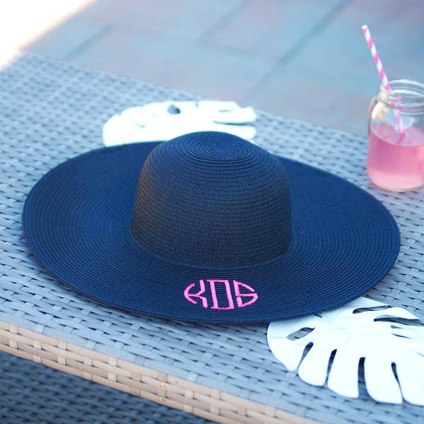 Floppy Hat - Monogram - Beach Hat - Embroidered Hat-floppy hat, monogram, monogram floppy hat, beach hat, monogram beach hat, embroidered, embroidered hat, embroidered beach hat, embroidered floppy hat, monogrammed, white floppy hat, black floppy hat, navy floppy hat, natural floppy hat