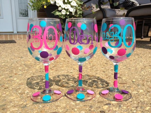 Custom Birthday Wine Glasses - Great Way to Celebrate-personalized wine glass celebrate your birthday milestone age name Happy Birthday