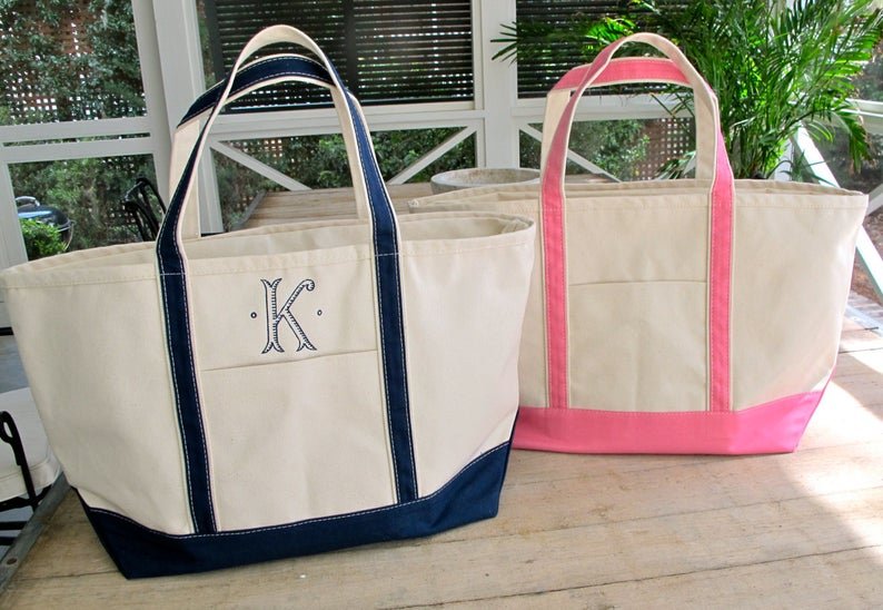 Monogram Canvas Tote-large size with black or pink straps embroidered with choice of monogram, name or initial