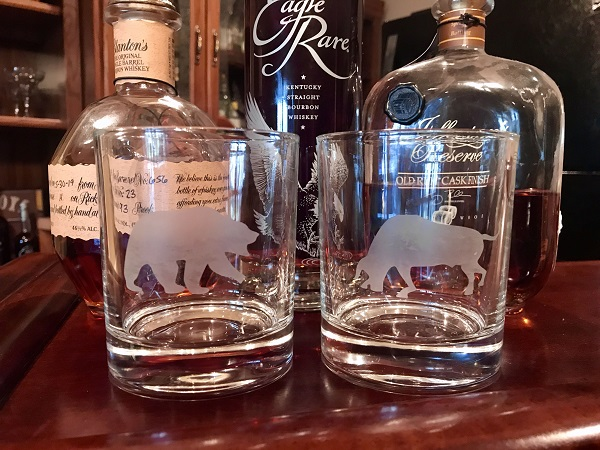 Personalized Bourbon Glass-etched with a bull and a bear