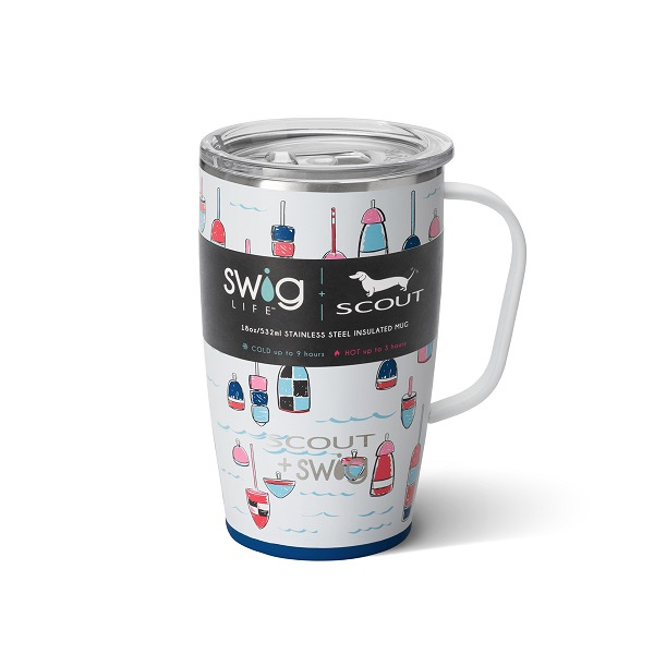 Buoy Oh Buoy Mug - Swig Life + Scout - 18 oz Travel Mug-Island Bloom, Swig Life, Swig, double-walled, vacuum-sealed, copper-coated insulation, wine, wine cup, Island Bloom wine cup, Swig Life stemless wine cup, party animal, party animal stemless wine cup, party animal wine cup, party animal stemless wine, barnaby checkham skinny can cooler, barnaby checkham, Swig Life +Scout, slim can beverage, slim can, 12 oz slim can beverage, buoy oh buoy, buoy oh buoy mug, travel mug, 18 oz travel mug